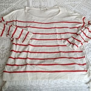 Loft XL Red and White Knit with Lace up Sides